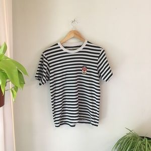 striped graphic tee